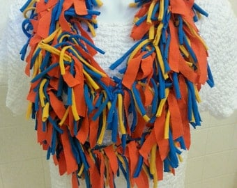 Recycled T Shirt Scarf Shabby Ragged Knotted Shredded