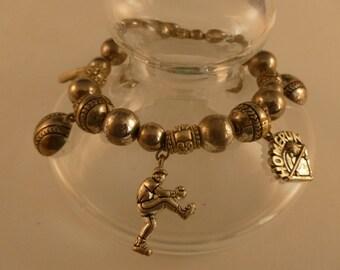 Silver Baseball Charm Bracelet.