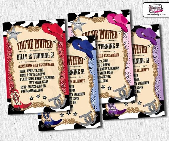 Cowboy Invitations, Cowgirl Invitations, Cowgirl Invitation, Cowboy Invitation, Cowgirl Birthday Invitations, Cowboy Birthday Invitations