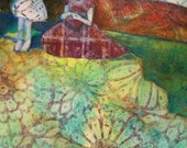 Original Artwork- Mother and Daughter in the Garden