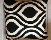 Art Deco Throw Pillow Covers in Black & Cream--Available in 1 Size 16x16--Free Shipping US