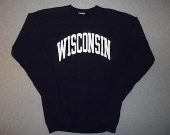 1980s Wisconsin Vintage 80s Sweatshirt Navy Blue Made In USA Retro Cozy Winter Warm L Large