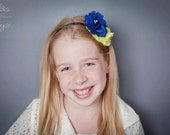 Navy and Yellow Chiffon Flower Headband - Photography Prop - newborn, baby, child, adult - Easter, Spring, Wedding, Flower Girl