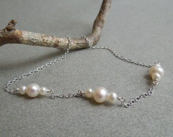 Modern Pearl Necklace: Freshwater Pearls, Sterling Silver Chain, Bridesmaid Gift