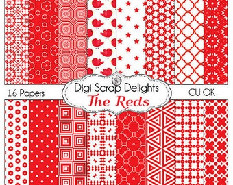 Reds Digital Papers for Scrapbooking Card Making, Photo Backgrounds  birds, polka dots,and quatrefoil