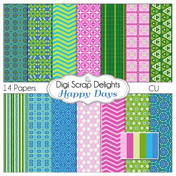 Happy Day Scrapbook Paper in Pink, Green, Blue  Digital Scrapbooking, Invites, Card Making, Instant Download