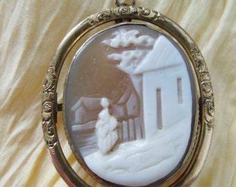 Spinning Victorian Cameo Pin Rememberance Carved Shell Cameo Brooch or Pendant Memory Jewelry