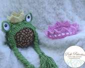Crocheted Princess and the Frog Twin Set, Newborn, Costume, Photo Prop