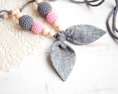 Teething Necklace - Nursing necklace - nursing mom necklaces - linen bow - breastfeeding jewelry - pink grey