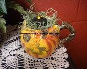 Pumpkin Mug Light, Tea Light Candle Arrangement, Autumn Harvest Decor, Fall Thanksgiving Accent