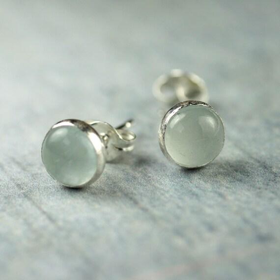 Aquamarine Silver Stud Earrings - Sterling Set 6mm Domed Gemstones