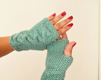 Persian green Wool Fingerless Gloves Armwarmers Hand Knit Chic Winter Accessories Winter Fashion,halloween,christmas