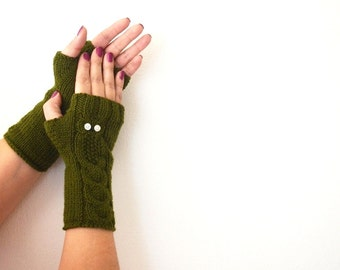 Owl Arm Green Gloves, Hand Knit Mittens, Fingerless Gloves, Woman Arm Warmers