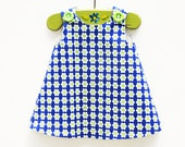 Baby Girl - Daisy Flowers - Handmade Baby Clothing - Blue - Green - Designer Fabric - Birthday Tea - Holiday Gift - Etsy Kids - 3M to 4T