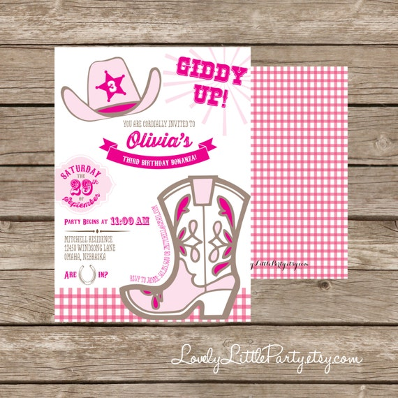 DIY Printable Cowgirl Birthday Invitation Kit - Invite AND Thank You Card included