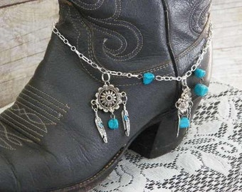 Concho Silver Chain & Turquoise Boot Bracelet, Tibetan Silver Feathers..Western Jewelry. FREE U.S. Shipping! Great Anniversary Gift.