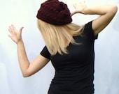 Claret Slouch Hat, Burgundy Hat, Crochet Beanie, Dark Red Slouch, Wool Crochet Hat, Rhubarb Beanie Hat,