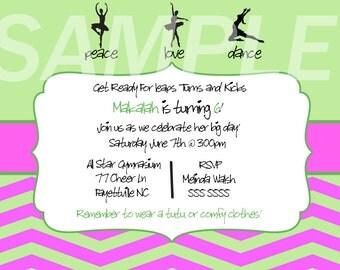 Green and Pink Dance Birthday Invitation