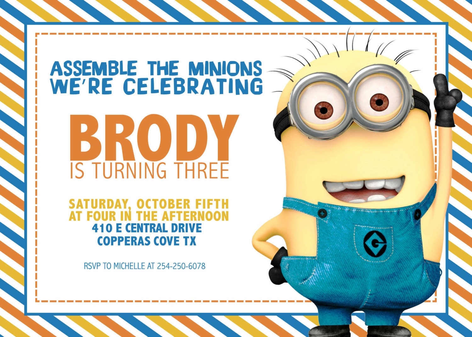 Lively image intended for printable minion invitations