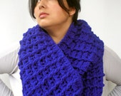 Royal Blue Waffle Extralong Chunky Infinity Scarf Super Soft Mix wool Scarf Crocheted Woman Fashion Circle  Scarf New