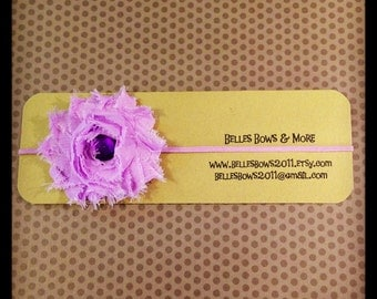 Lavender Shabby Flower Headband...Elastic Flower Headband...Girls Headbands...Toddler Headbands...Adult Headbands