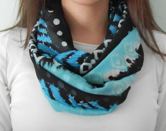 Blue, Black, and White Tribal Infinity Scarf