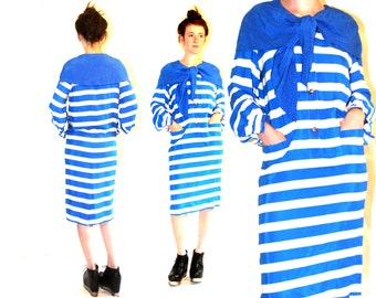 1980s Silk Sailor Dress Medium