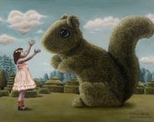 Package of three greeting cards and envelopes: Romancing the Squirrel.Pop Surrealism Animal Art
