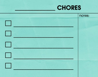 FILL IN Dry/Wet Erase Chore Chart Magnet. Aqua Print. Comes with a Wet Erase Marker.