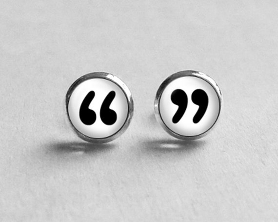 Quotation Mark Post Earrings Stud, Quotation Mark Earrings, Tiny Earring Studs E204