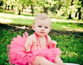 Princess Pink Tutu and Tiara Set Newborn Photography Prop Birthday Tutu Set