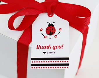 Ladybug printable - Ladybug Birthday - Ladybug Favor Tags - Ladybug decorations - Printable Party - flowers - red - polka dots