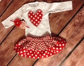 Valentine's Day Heart Outfit, Girl Valentine's Day Outfit, Toddler Valentines Outfit, Headband Red, Heart Shirt, Red/White Chevron skirt