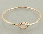 SALE Free Shipping- 12% OFF Rose Gold Silver Forever Love Knot Bangle