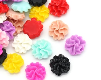 5pcs Mix Resin Flower Flat Backed Cabochons - 12mm - Embellishment, Cameo, Jewelry Finding, Jewelry Making Supplies, Ships from USA - R118