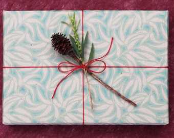 Classic Green Christmas Wrapping Scrapbooking or Origami Paper 'Gum Leaves'