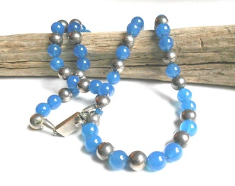 Taxco Mexican Sterling Natural Blue Chalcedony Vintage Necklace, Listed Artist, Sterling beads