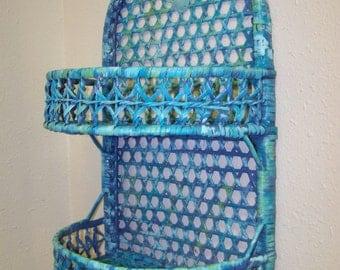 Wicker Shelf Beach Shelf Upcycled Shelf Vintage Wicker Shelf Turquoise Wicker Shelf