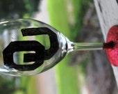 Set of 2 Oklahoma University Glittered Wine Glasses