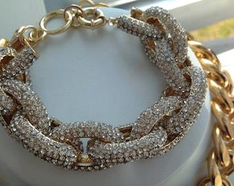 Pave Link Bracelet - Gold Crystal Embedded Pave Link Bracelet- Pave link Jewelry