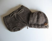 Knitted Autumn Diaper Cover and Hat Set (Size 0-6 Months) - TheRobinsonsHouse