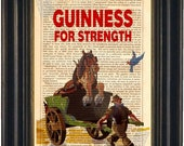 Guinness for Strength  Dublin Ireland mixed media  Print on repurposed vintage 1880's book page mixed media