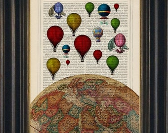 Top of the World  Hot Air Balloon Print on repurposed 1880's  vintage Encyclopedia Page Mixed Media original Digital book page