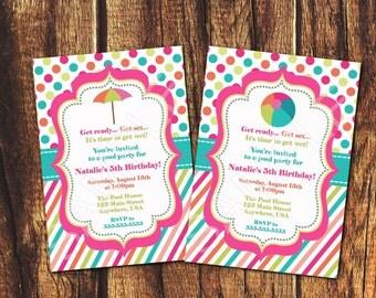 Beach/Pool Party Printable Invitation (5x7 Digital File)