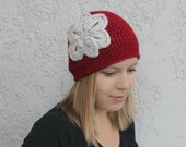 Crochet Women's Winter Hat with Flower, Dark Red and Silver, Made to Order