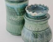 Royal Tea Mug Queen Lidded Mug, Green Ceramic Mug with Lid for Storing Tea Bag, Made to Order