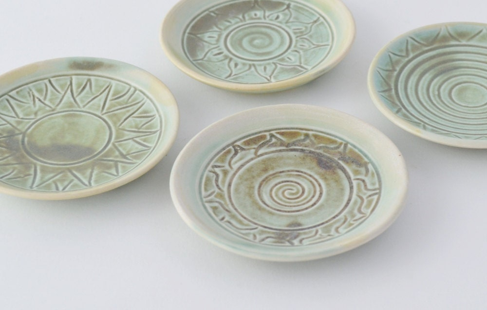 Miniature Plate Set Tiny Turquoise Hand Thrown Pottery Hand