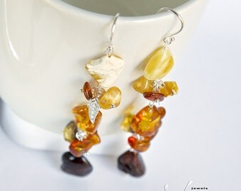 Long and light weight sterling silver earrings with multi colored natural Baltic amber, yellow, honey, green, cognac Baltic amber ear-rings