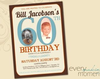 60th Birthday Party Invitation -- Sixtieth Birthday Invitation -- custom, digital, personalized, printable birthday invite
