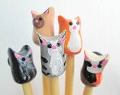 Cat Knitting Needles- made to order on premium bamboo